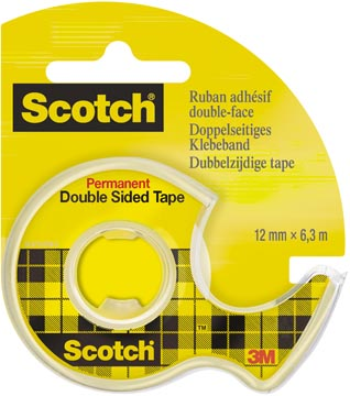 Scotch dubbelzijdige plakband ft 12 mm x 6,3 m + afroller