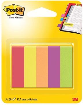 Post-it Notes Markers Jaipur, ft 12,7 x 44,4 mm, blister met 5 blokjes van 50 vel