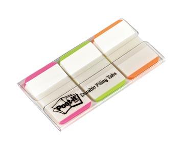 Post-it Index Strong, , ft 25,4 x 38 mm, wit met gekleurde rand, 3 kleuren, 22 tabs per kleur