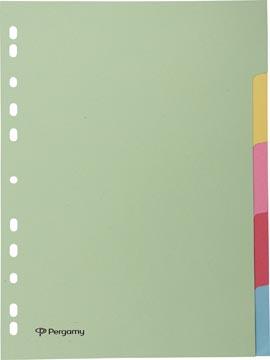 Pergamy tabbladen ft A4, 11-gaatsperforatie, karton, geassorteerde pastelkleuren, 5 tabs